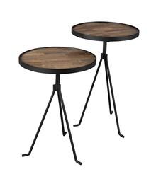 Stolik TIDES 2 szt. marki Dutchbone  Materiał:  blat z drewna tekowego z recyklingu na części na MDF naturalnie lakierowany stalowa rama i brzeg blatu...