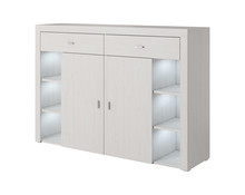 Komoda - Caen 45  Wymiary:  Szerokość:150 cm Wysokość: 104 cm Głębokość: 39 cm  Wykonanie:   - płyta meblowa laminowana  Oświetlenie LED...