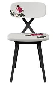 Krzesło X z poduszką w kwiatki