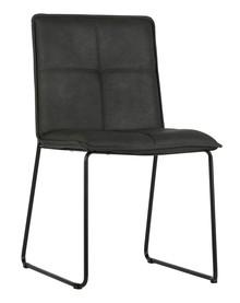 Krzesło Set of 2 czarne  Kolor:  - Czarny  Wymiary:  - Wysokość: 85.5 cm - Szerokość: 47.5 cm - Głębokość: 56 cm  Materiał:  -...
