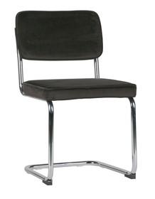 Krzesło set of 2 aksamitne z metalową ramą ciemnobrązowe  Kolor:  - Ciemnobrązowy  Wymiary:  - Wysokość: 83.5 cm - Szerokość: 48 cm -...