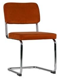 Krzesło aksamitne z metalową ramą rdzawe - zestaw 2 sztuk