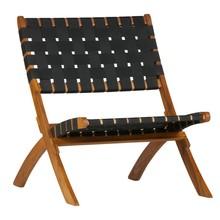 Fotel Lois czarny z drewna naturalnego  Kolor:  - Czarny  Wymiary:  - Wysokość: 72.5 cm - Szerokość: 78 cm - Głębokość: 60 cm  Materiał: ...