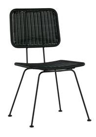 Krzesło do jadalni Set of 2 Hilde czarne  Kolor:  - Czarny  Wymiary:  - Wysokość: 87 cm - Szerokość: 47 cm - Głębokość: 65 cm  Materiał:...
