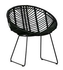 Fotel April rattanowy - czarny