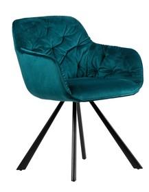 Krzesło do jadalni Elaine aksamitne morskie  Kolor:  - Morski  Wymiary:  - Wysokość: 80.5 cm - Szerokość: 59.5 cm - Głębokość: 59 cm ...