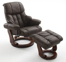 Fotel z podnóżkiem CALGARY - brązowy/orzech