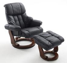 Fotel z podnóżkiem CALGARY - czarny/orzech
