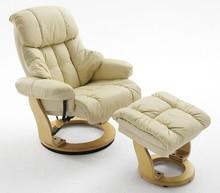 Fotel z podnóżkiem CALGARY - kremowy/naturalny