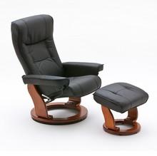Fotel telewizyjny HAMILTON czarny, stelaż kolor miodowy