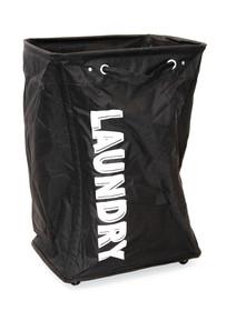 Materiałowy kosz na pranie na kółkach czarny