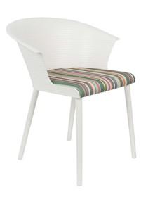 Kolor: białyMateriał: polipropylen, Polypropylene shell and legs. Mixed fabric seat (50% polyester, 40% cotton, 10% acrylic), 100% PU foam., 50% poliester,...