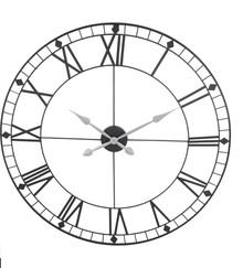 Metalowy zegar ścienny.  Średnica: 88 cm Głębokość: 2 cm