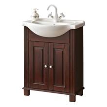 Stojąca szafka pod umywalkę o szerokości 65cm została w całości wykonana z naturalnego drewna, które zostało polakierowane na klasyczny brązowy...