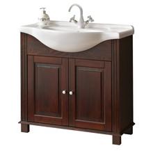 Stojąca szafka pod umywalkę o szerokości 85cm została w całości wykonana z naturalnego drewna, które zostało polakierowane na klasyczny brązowy...