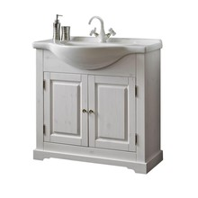 Stojąca szafka pod umywalkę o szerokości 85cm została w całości wykonana z naturalnego drewna, które zostało polakierowane na klasyczny biały kolor z...