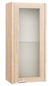 Łazienkowa szafka wisząca ze szklanym frontem, reszta szafki w dekorze dąb sonoma.