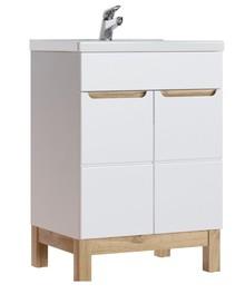Szafka z umywalkę 60cm Bali, szafka charakteryzuje się najwyższą jakością wykonania, fronty został wykonany z MDF-u w wysokim połysku o białym...