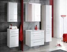 Zestaw mebli łazienkowych z system cichego zamykania i białymi frontami w połysku<br />