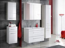 Zestaw mebli łazienkowych z system cichego zamykania i białymi frontami w połysku