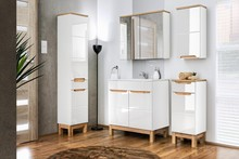 Meble łazienkowe z kolekcji Bali charakteryzują się najwyższą jakością wykonania, meble posiadają fronty w białym połysku wzbogacone o drewnopodobne...