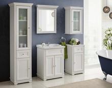 Klasyczny zestaw mebli łazienkowych w odcieniu malowanej na biało sosny.   Waga: 110 Wymiary misy: 44 x 27 Kolor front: Biały andersen Styl: Klasyczny...