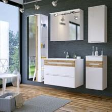 Komplet białym mebli łazienkowych w wysokim połysku, szafki z kolekcji Galaxy posiadają system cichego zamykania. Szafka z lustrem posiada nowoczesne...