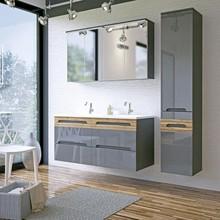 Komplet szarych mebli łazienkowych w wysokim połysku, szafki z kolekcji Galaxy posiadają system cichego zamykania. Szafka z lustrem posiada nowoczesne...