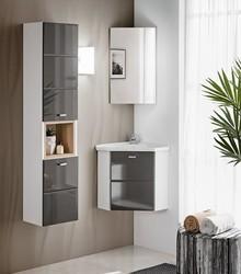 Szary zestaw mebli łazienkowych z kolekcji Finka Grey