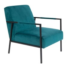 Kolor: niebieski  Materiał: tkanina welwetowa Wymiary:  Wysokość siedzenia: 40.5 cm Głębokość siedzenia: 54 cm Szerokość: 81 cm Szerokość: 60.5...