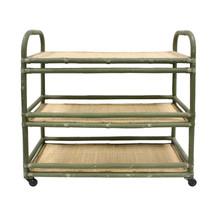 Rattanowy wózek z półkami, zielony