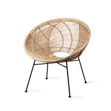 Fotel kubełkowy rattanowy - naturalny