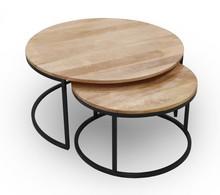 Stolik kawowy okrągły loft , industrialny zestaw 2 stolików mango