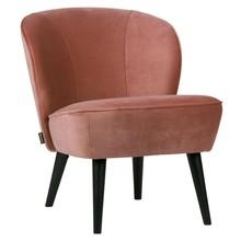 Fotel SARA z aksamitu - postarzany różowy