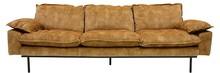 Sofa Retro 4-osobowa aksamitna w kolorze musztardowym
