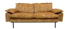 Sofa Retro 2-osobowa aksamitna w kolorze musztardowym