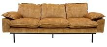 Sofa Retro 3-osobowa aksamitna w kolorze musztardowym