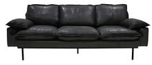 Sofa Retro 3-osobowa skórzana w kolorze czarnym