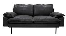 Sofa 2-osobowa RETRO skórzana - czarny