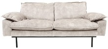 Sofa Retro 2-osobowa aksamitna w kolorze kremowo-białym