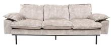 Sofa Retro 3-osobowa aksamitna w kolorze kremowo-białym