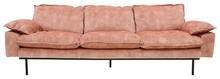 Sofa Retro 4-osobowa aksamitna w kolorze różowym