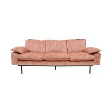 Sofa Retro 3-osobowa aksamitna w kolorze różowym