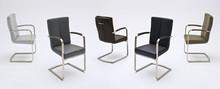 Krzesło LUNA z podłokietnikami, skóra ekologiczna w kolorze cappuccino