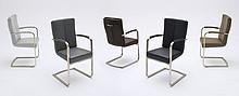 Krzesło LUNA z podłokietnikami, szara skóra ekologiczna
