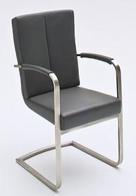 Krzesło LUNA z podłokietnikami, czarna skóra ekologiczna
