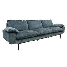 Sofa Retro 4-osobowa velvet w kolorze niebieskim