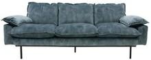 Sofa Retro 3-osobowa velvet w kolorze niebieskim