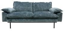 Sofa Retro 2-osobowa velvet w kolorze niebieskim