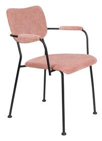Krzesło z podłokietnikami  BENSON - różowy